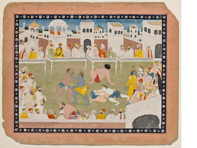 An Illustration to a Bhagavata Purana Series: Rama and Lakshamana wrestle.....   opaque watercolor on paper, Kangra, Early 19th Century