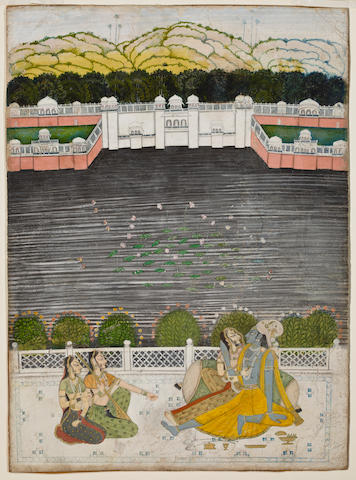 Krishna and Radha on a Lake Terrace,  Opaque watercolor on paper, Kishangarh, early 19th Century