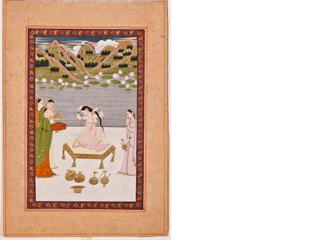 Woman at her toilette Opaque watercolor on paper, Kangra, 18th century