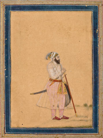 Portrait of a Ruler Opaque watercolor on paper, Rajasthan, early 18th century