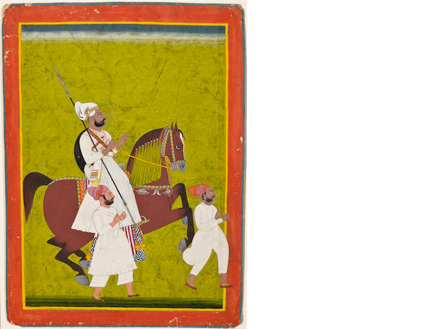 An equestrian portrait of a Man Singh ruler Opaque watercolor on paper, 19th Century