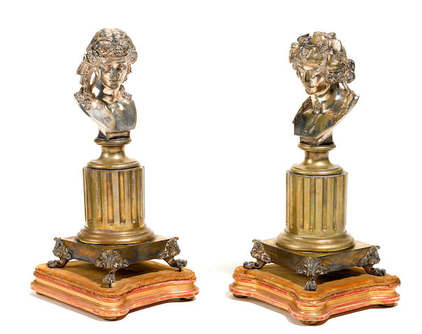 A pair of French silvered bronze busts