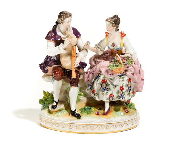 A Continental porcelain figural group- inspection
