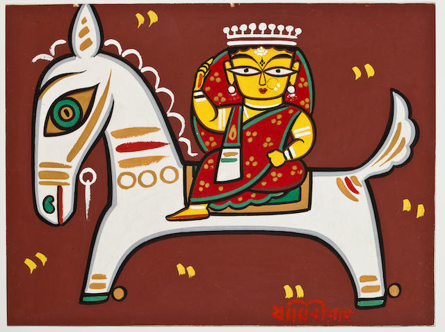 Jamini Roy, Queen On A Horse, gouache on board, early 1960s