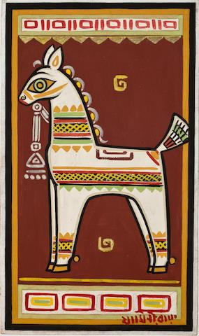 Jamini Roy, Horse, Gouache on board, early 1960s