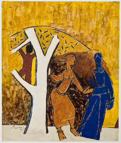 M.F. Husain, Untitled, watercolor on paper, 1950s