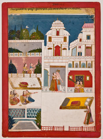 Illustration to a ragamala series: Malavi ragini, Opaque watercolor on paper, Malwa, Central India, Circa 1690