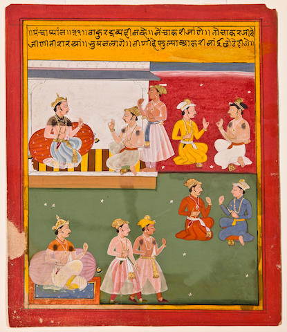 Illustration to a Pancatantra series (?), Opaque watercolor and gold on paper, Mewar, Circa 1690-1700