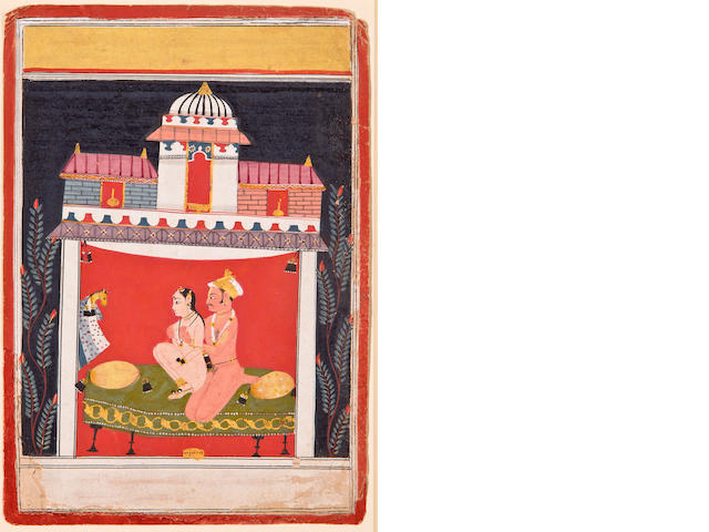 Illustration to an erotic series, Opaque watercolor on paper, Malwa, Central India, Mid 17th century