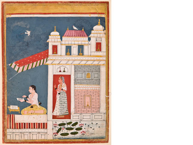 Illustration to a ragamala series: Malhar ragini, Opaque watercolor on paper, Malwa, Central India, Circa 1650