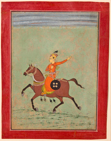 Illustration to a ragamala series: Nat ragini, Opaque watercolor on paper, Bilaspur, Circa 1750