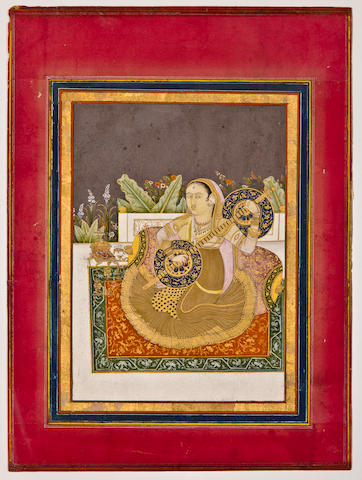 A vinod player, Opaque watercolor on paper, North India (?), Late 18th century
