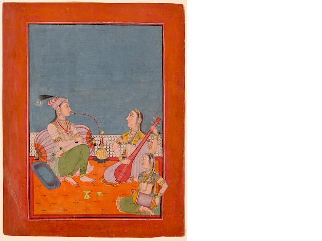Princess entertained by musicians, Opaque watercolor on paper, Bilaspur, Circa 1730-50