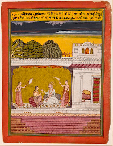 Illustration to a ragamala series: Sri raga Opaque watercolor on paper, Amber, circa 1700
