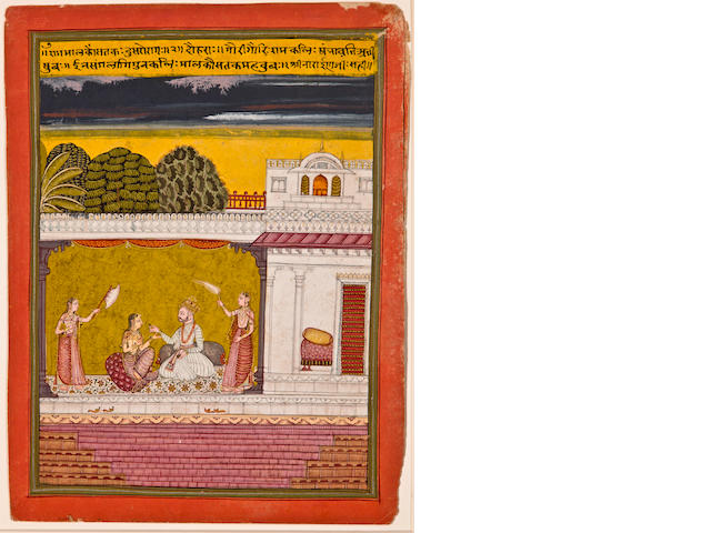 Illustration to a ragamala series: Sri raga, Opaque watercolor on paper, Malwa, Central India, Late 17th century