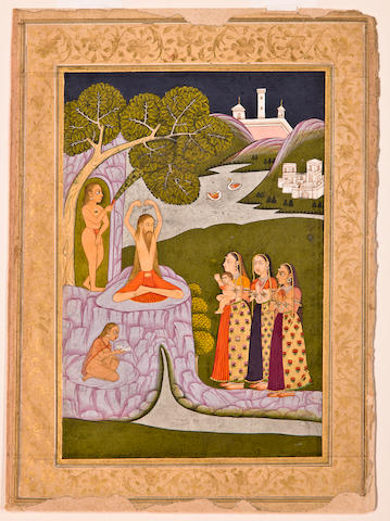 Illustration to a ragamala series: Kedar ragini Opaque watercolor and gold on paper, Hyderabad, Circa 1760