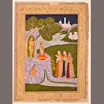 Illustration to a ragamala series: Kedar ragini, Opaque watercolor and gold on paper, Golconda, Deccan, Circa 1790