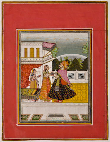 Illustration to a ragamala series: Ramkali ragini, Opaque watercolor on paper, Bikaner, Circa 1800