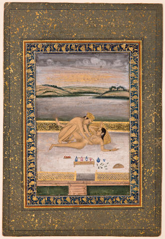 Page from an erotic album Opaque watercolor and gold on paper, Late Mughal, possibly Lucknow, Circa 1780-90