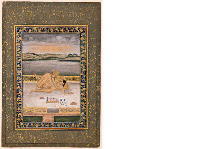 Page from an erotic series, Opaque watercolor and gold on paper, Late Mughal, possibly Lucknow, Circa 1780-90