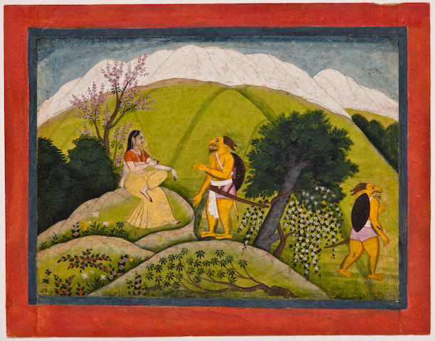 Illustration to a Markendeya Purana: Devi refuses the invitation of the demon, Opaque watercolor on paper, Kangra or Guler, Circa 1790