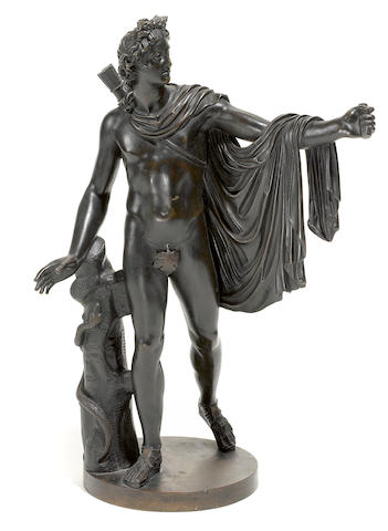 A patinated bronze figure of Apollo Belvedere