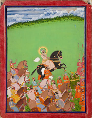 Maharana Sajjan Sing in procession with his courtiers By Sivalal<BR />Opaque watercolor and gold on paper, Mewar, dated 1883