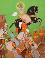 Maharaja Sajjan Sing in procession with his coutiers,by Sivalal, dated 1883