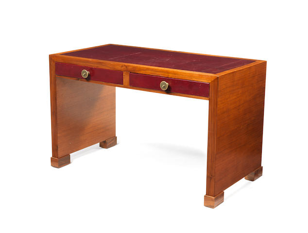 A wooden desk with red leather inset top Frenchc 1940