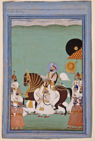 Maharana Sarup Singh in procession By Shivalal<BR />Opaque watercolor and gold on paper, Mewar, dated 1859