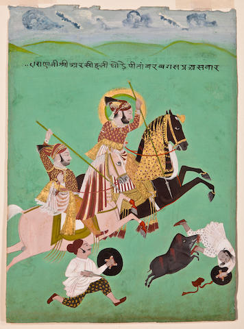 Maharana Ari Singhji on a boar hunt By Kesu Ram<BR />Opaque watercolor and gold on paper, dated 1765-66