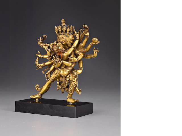 A gilt copper allow figure of Cakrasamvara  Tibet, 16th/17 century
