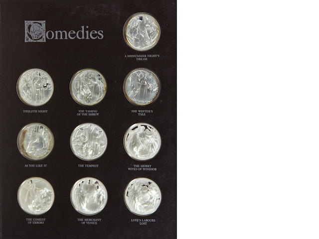 THE SHAKESPEARE MEDALS. [Np:] [The Franklin Mint,] [1971.] The complete set of 38 sterling silver proof coins in original presentation binder. $500/$700 **FINE? COIN DEPT? 2 sets sold for over $1200 on eBay over last year**