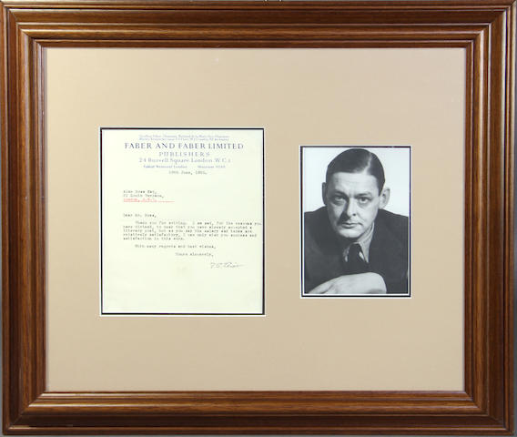 ELIOT, T.S. Letter signed.