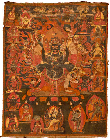 A thangka of Vajravega Distemper on cloth, Tibet, 16th/17th century