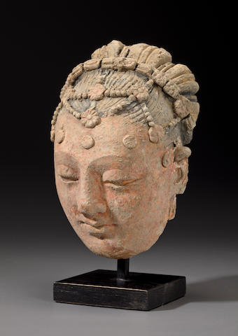 Head of a Woman, Gandhara, 4th/5th century, Polychrome clay