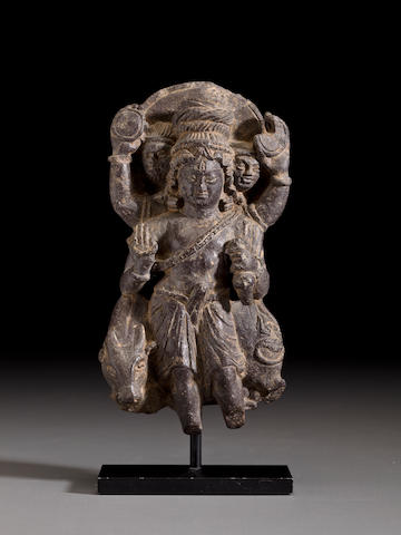 A black stone figure of Shiva  Kashmir, circa 8th century