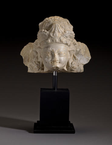 Head of deity, marble, Hindi Shaihi, 7th century