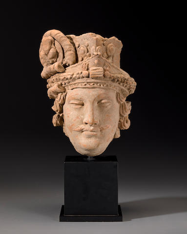 Head of a Bodhisattva, Gandhara, 4th century, Terracotta