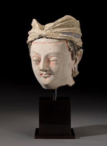A polychrome clay head of a bodhisattva Ancient region of Gandhara, 4th/5th century