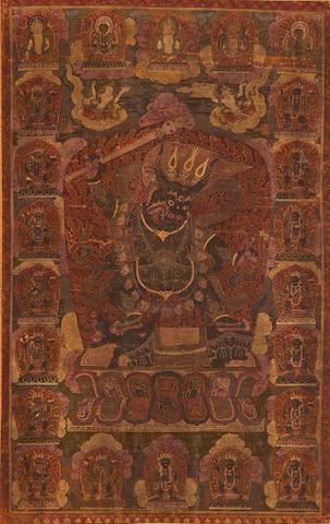 Dharmaraja Yama Distemper on cloth, Tibeto-Chinese, circa 16th century