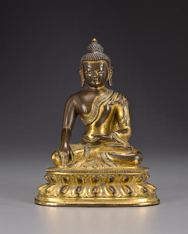 A gilt copper alloy Buddha Shakyamuni Tibeto-Chinese, 17th/18th century