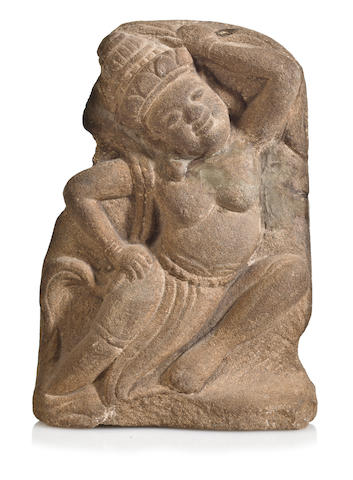 A sandstone relief panel of an apsara Vietnam, Cham period, circa 13th century