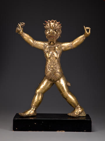 A gilt copper alloy Simhavaktra Tibeto-Chinese, 18th century