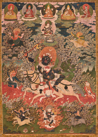 A thangka of Sri Devi Distemper on cloth, Tibet, 18th century