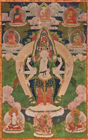 Two thangkas of Buddha and Avalokitesvara Distemper on cloth, Tibet, 19th century