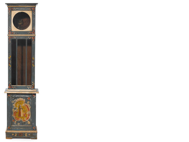 A Tyrolean paint decorated pine tallcase clock