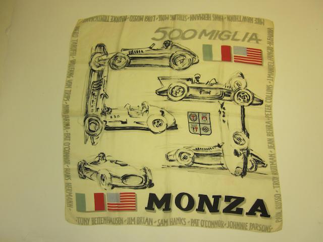 An original 500 Miglia Monza scarf, c.50s,