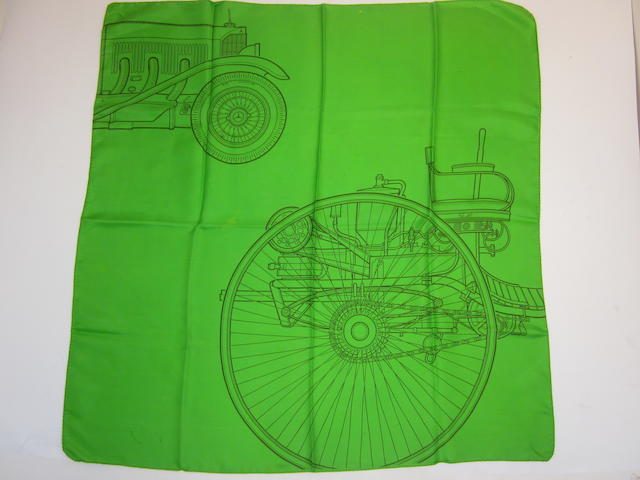 A green Mercedes-Benz scarf, c. 50s,