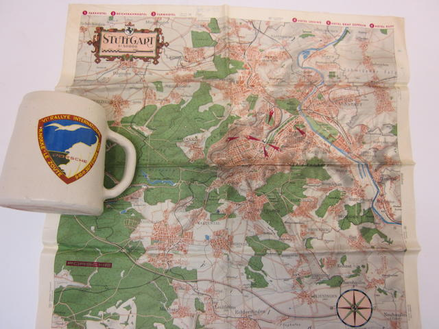 An original Porsche factory silk map of Stuttgard together with a Porsche Rallye International mug 1960,